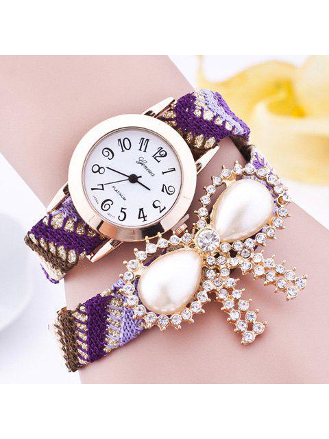 Diamantes de Imitación Perla Artificial Lazo de Reloj Brazalete - Púrpura  Mobile