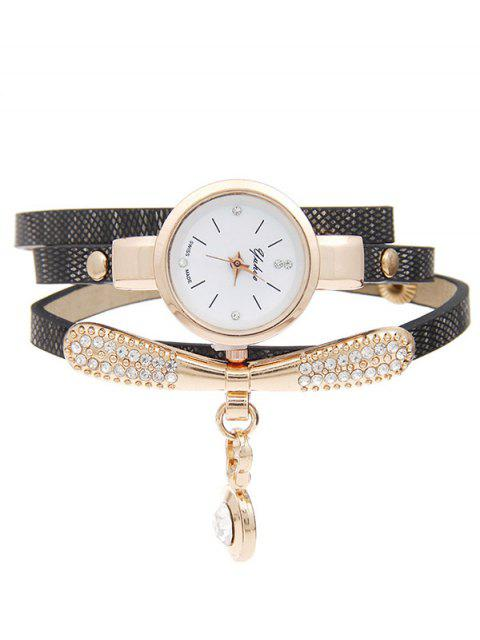 outfit Rhinestone Faux Leather Bracelet Watch -   Mobile
