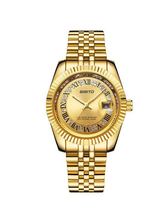 Diamante de Imitación de Números Romanos de Pulsera de Acero de Reloj de Cuarzo - Dorado