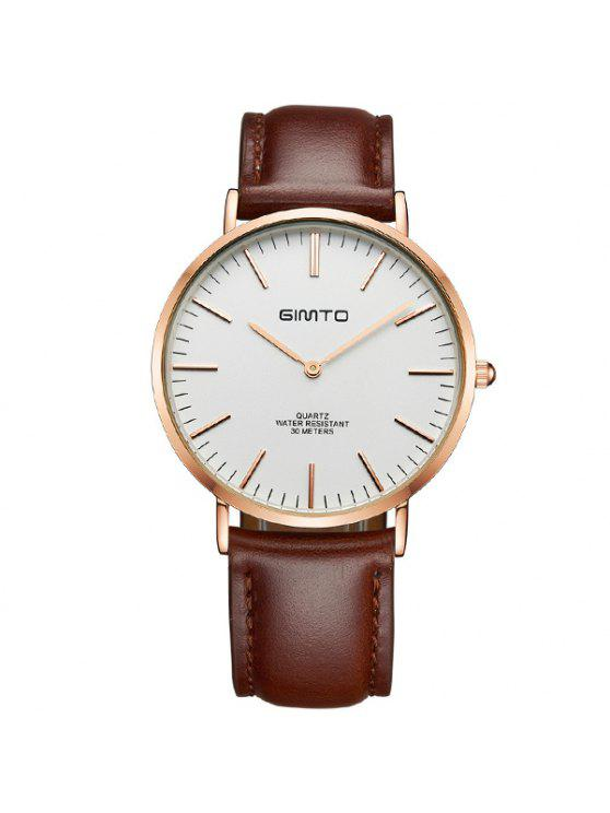 shops GIMTO Vintage PU Leather Quartz Wrist Watch - BROWN AND GOLDEN