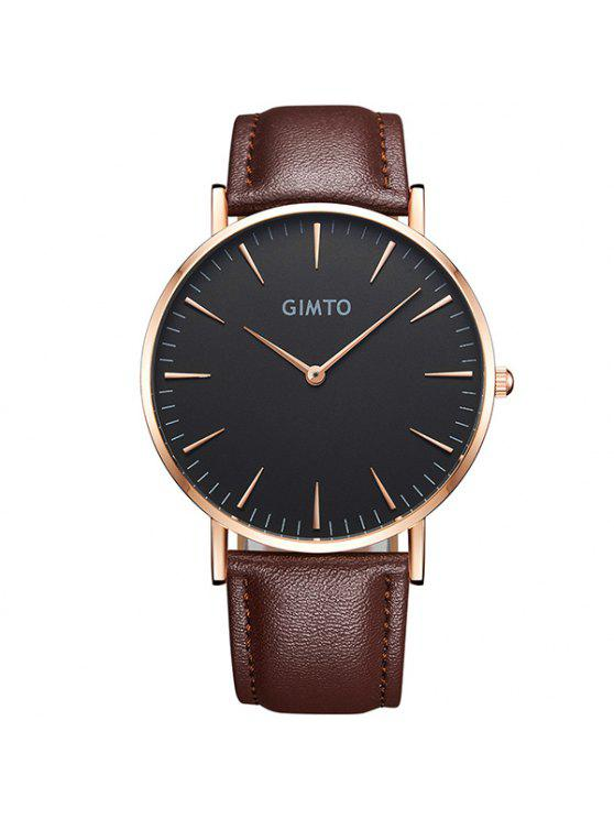 chic GIMTO Faux Leather Analog Quartz Wrist Watch - BLACK AND BROWN