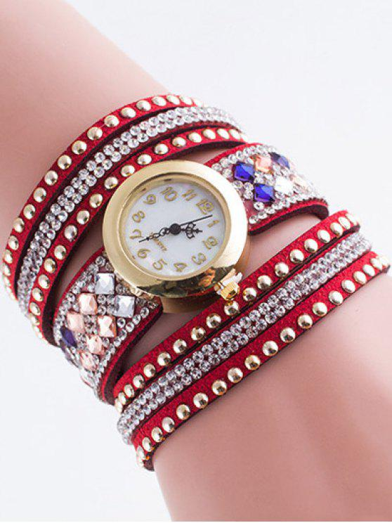 hot Layered Rivet Bracelet Watch - RED