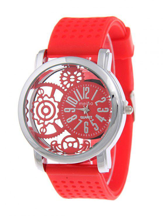 chic Silicone Roman Numerals Watch - RED