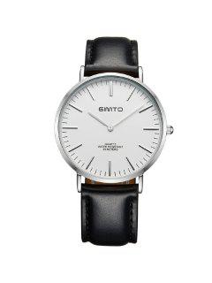 GIMTO Vintage PU Leather Quartz Wrist Watch - Silver And Black