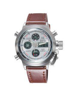 GIMTO PU Leather Analog Quartz Wrist Watch - White