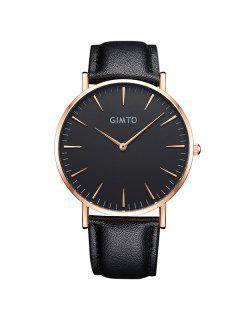 GIMTO Faux Leather Analog Quartz Wrist Watch - Black And Golden