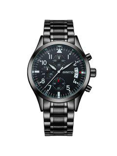 GIMTO Steel Band Analog Sport Wrist Watch - Black