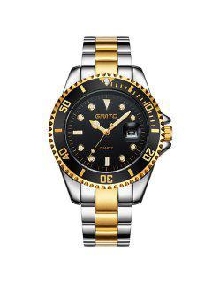 GIMTO Rhinestone Roman Numerals Analog Wrist Watch - Black And Golden