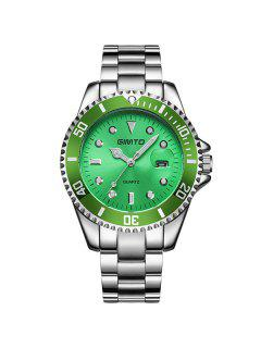 GIMTO Rhinestone Roman Numerals Analog Wrist Watch - Silver + Green
