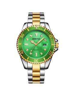 GIMTO Rhinestone Roman Numerals Analog Wrist Watch - Green