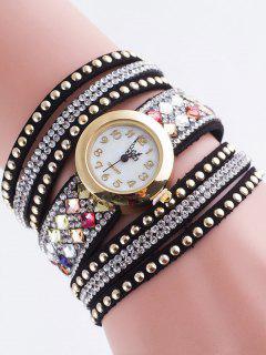 Layered Rivet Bracelet Watch - Black