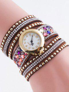 Layered Rivet Bracelet Watch - Gold Brown