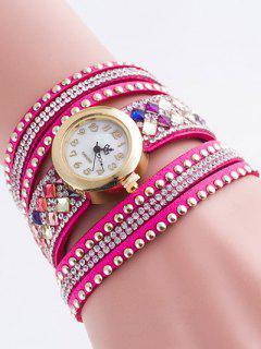 Layered Rivet Bracelet Watch - Peach Red
