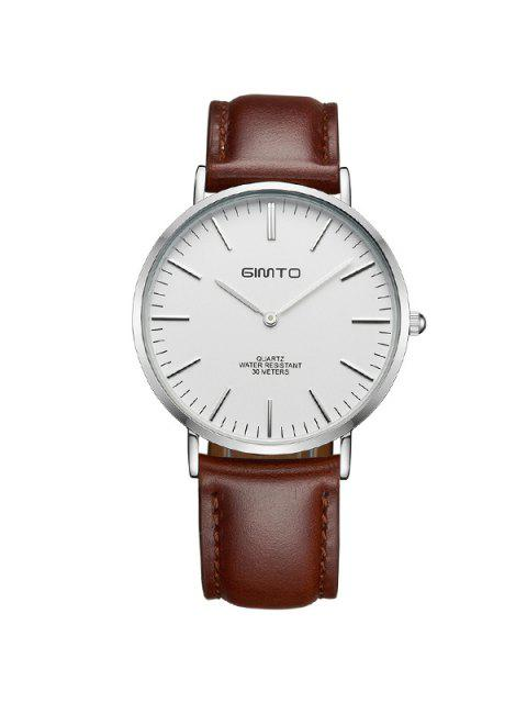 womens GIMTO Vintage PU Leather Quartz Wrist Watch - SILVER AND BROWN  Mobile