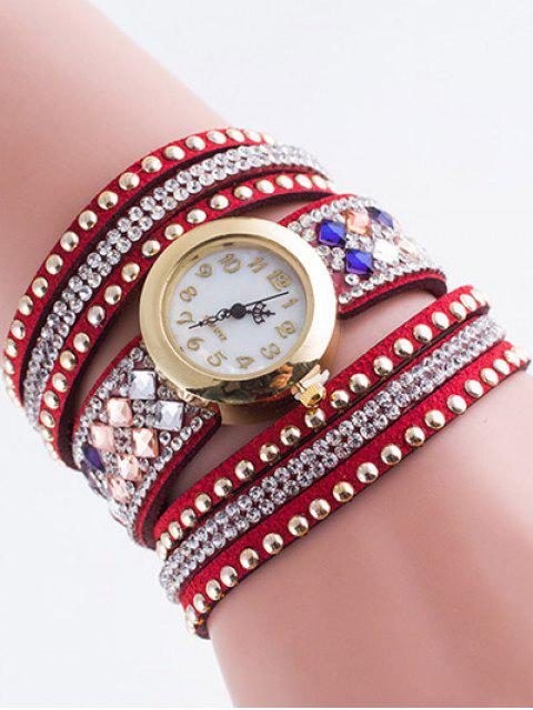 hot Layered Rivet Bracelet Watch -   Mobile