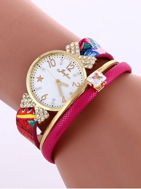 Cuero Artificial de Reloj de Pulsera - Rosa Roja