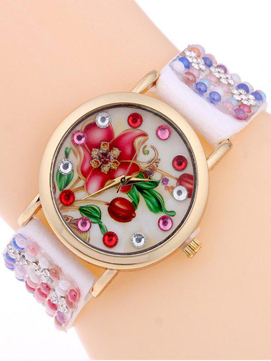 lady Studded Analog Bracelet Watch - WHITE