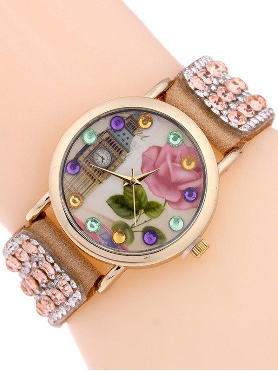hot Rhinestone Studded Bracelet Watch - CAMEL