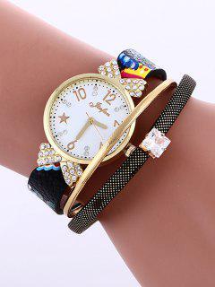 Faux Leather Wrist Watch - Black