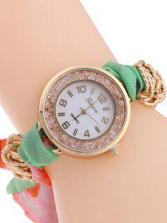 Gauze Braided Wrist Watch - Light Green