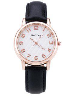 Faux Leather Number Quartz Watch - Black