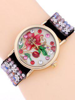 Studded Analog Bracelet Watch - Black