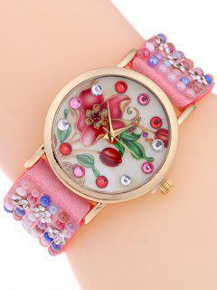 Studded Analog Bracelet Watch - Pink