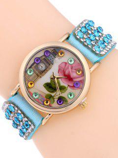 Rhinestone Studded Bracelet Watch - Azure