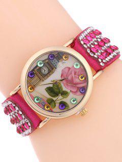 Rhinestone Studded Bracelet Watch - Rose Madder