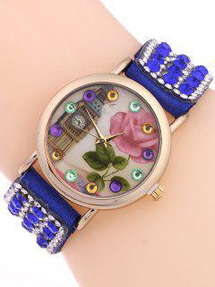 Rhinestone Studded Bracelet Watch - Sapphire Blue