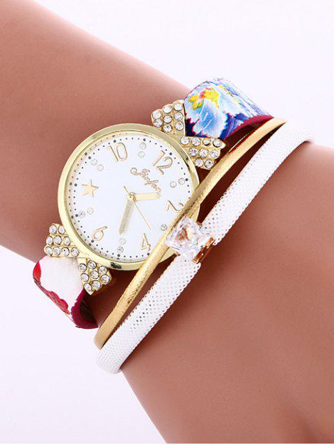 buy Faux Leather Wrist Watch - WHITE  Mobile