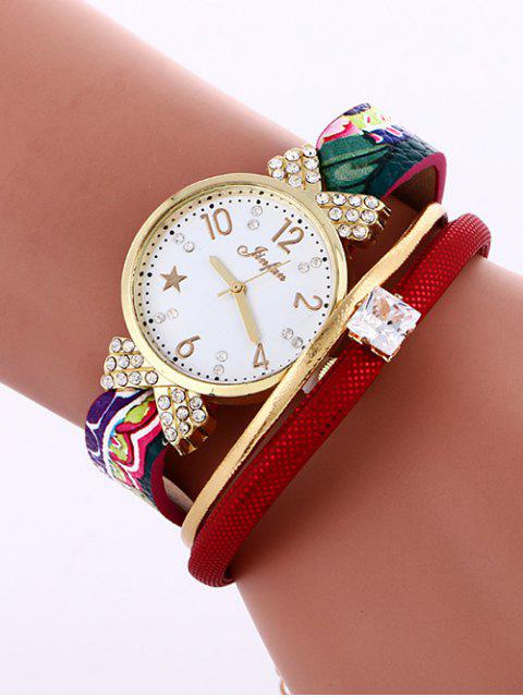 womens Faux Leather Wrist Watch - RED  Mobile