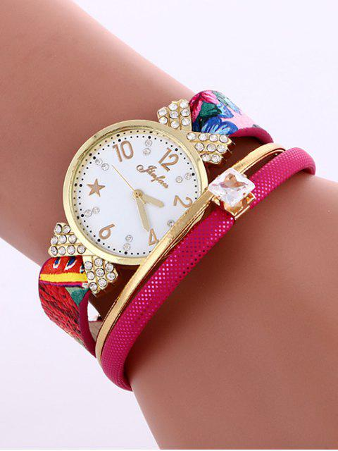 Montre de Cuir Faux - Rose Rouge  Mobile