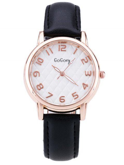 fancy Faux Leather Number Quartz Watch - BLACK  Mobile
