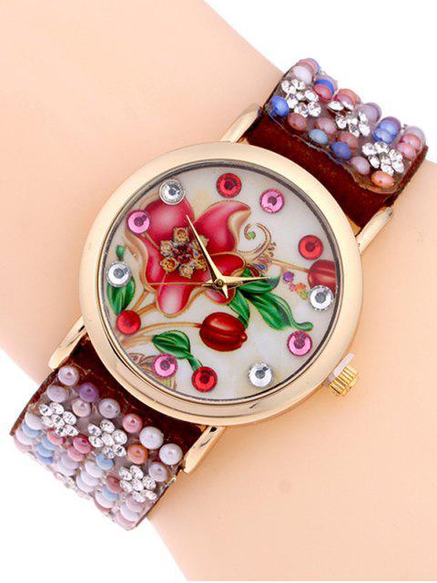 affordable Studded Analog Bracelet Watch - BROWN  Mobile