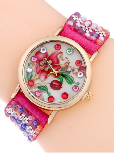 Tachonado Análogo de Pulsera de Reloj - Rosa Roja  Mobile