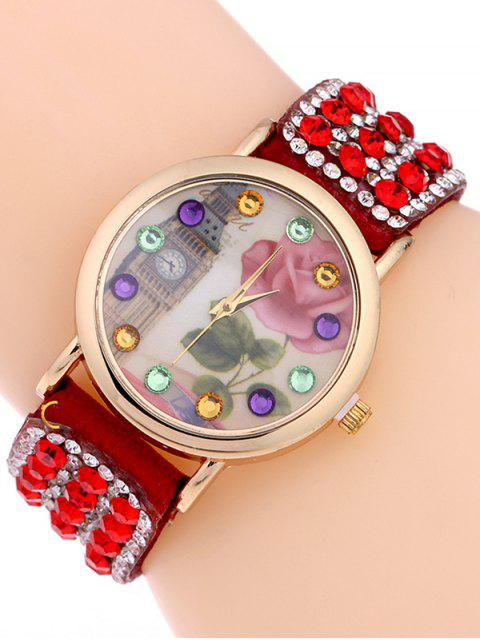 best Rhinestone Studded Bracelet Watch - RED  Mobile