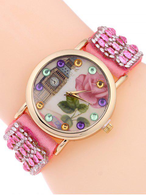 new Rhinestone Studded Bracelet Watch - PINK  Mobile