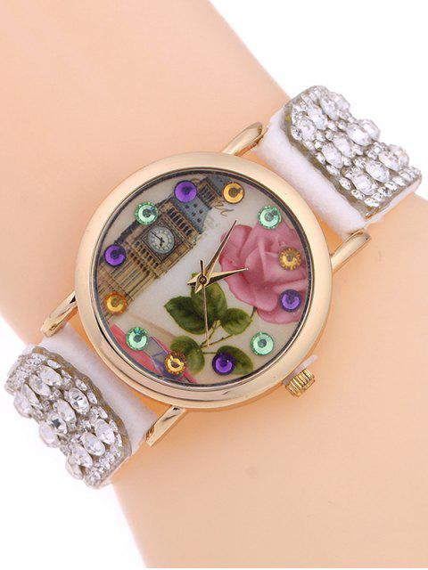 outfit Rhinestone Studded Bracelet Watch - WHITE  Mobile