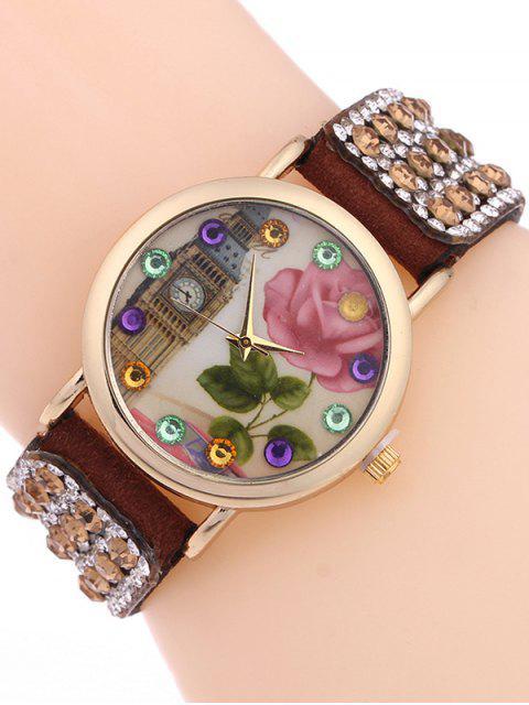 shop Rhinestone Studded Bracelet Watch - BROWN  Mobile