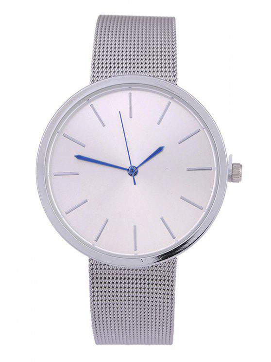 shop Simple Steel Mesh Band Quartz Watch - SILVER