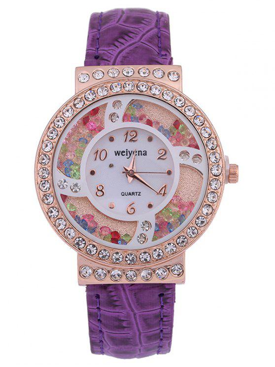 women PU Leather Colorful Beads Rhinestone Studded Watch - PURPLE