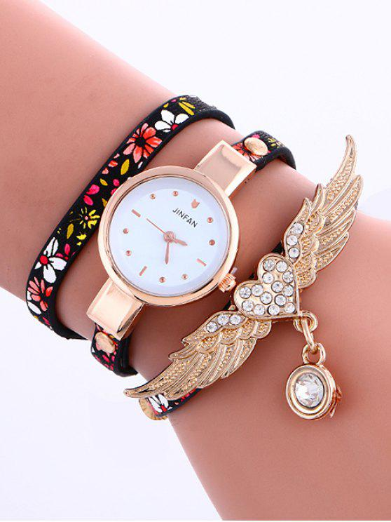 shops Heart Wings Layered Watch - BLACK