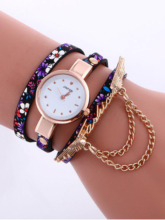 ladies Chain Wings Layered Watch - PURPLE
