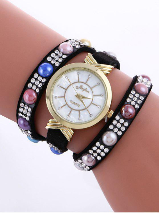 hot Beads Rhinestone Layered Watch - BLACK