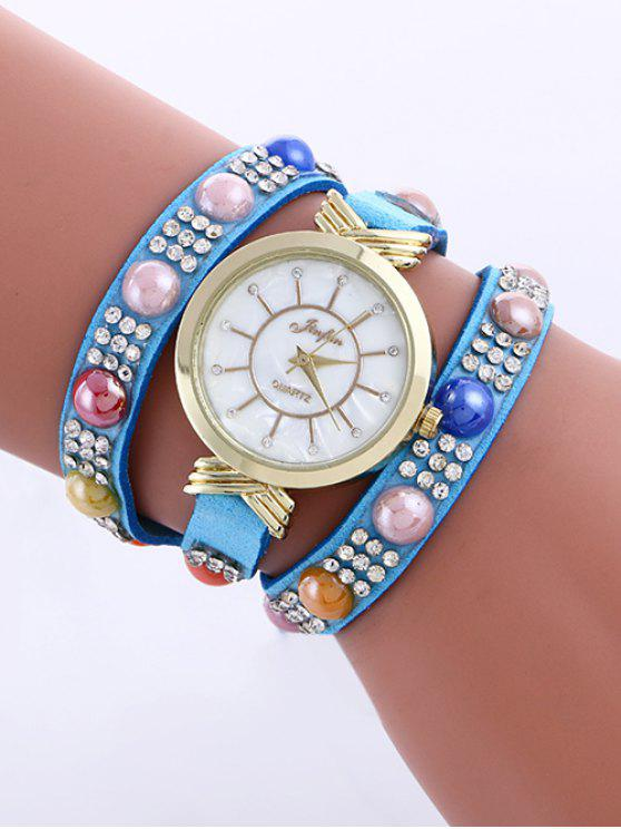 outfits Beads Rhinestone Layered Watch - LAKE BLUE