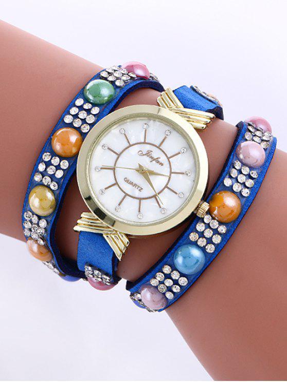 fashion Beads Rhinestone Layered Watch - BRIGHT BLUE