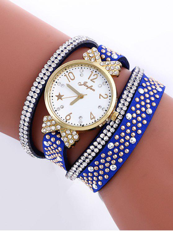 Montre casual embellie étoiles et bijou faux de strass - Bleu