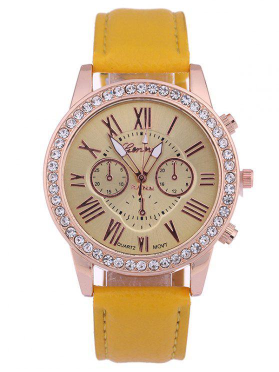 fashion Numerals PU Leather Rhinestone Studded Quartz Watch - YELLOW