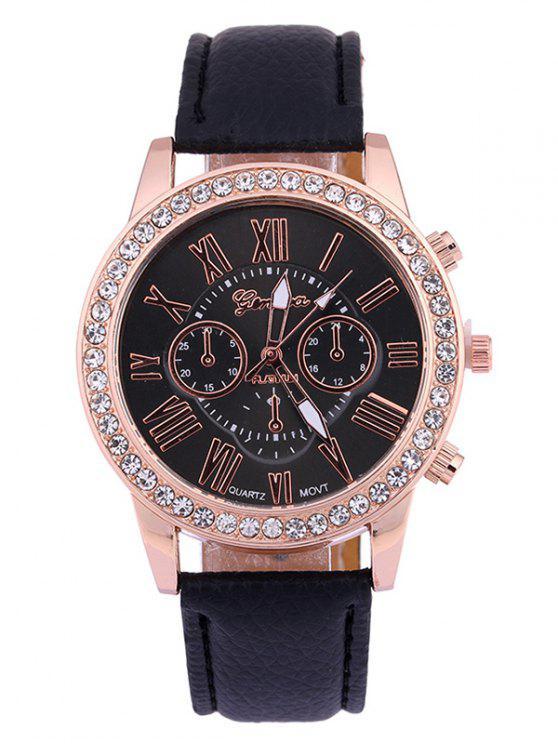 Numerais PU Leather Rhinestone Studded Quartz Watch - Preto